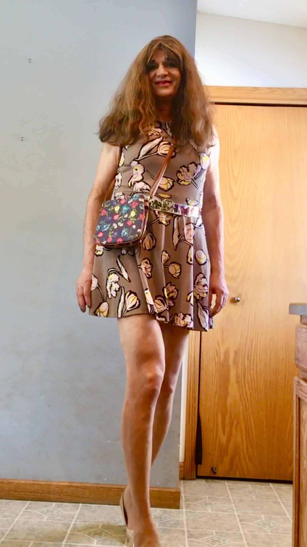 Nude pantyhose and a dress