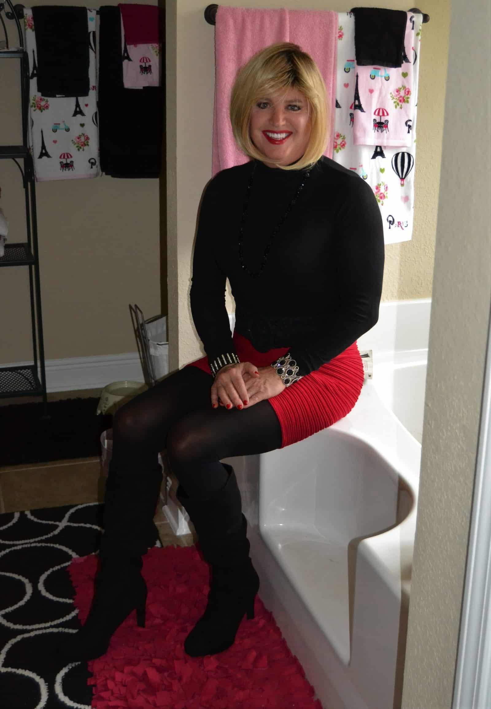 Great Combo – Sexy Mini Skirt With Boots On Jet Tub!