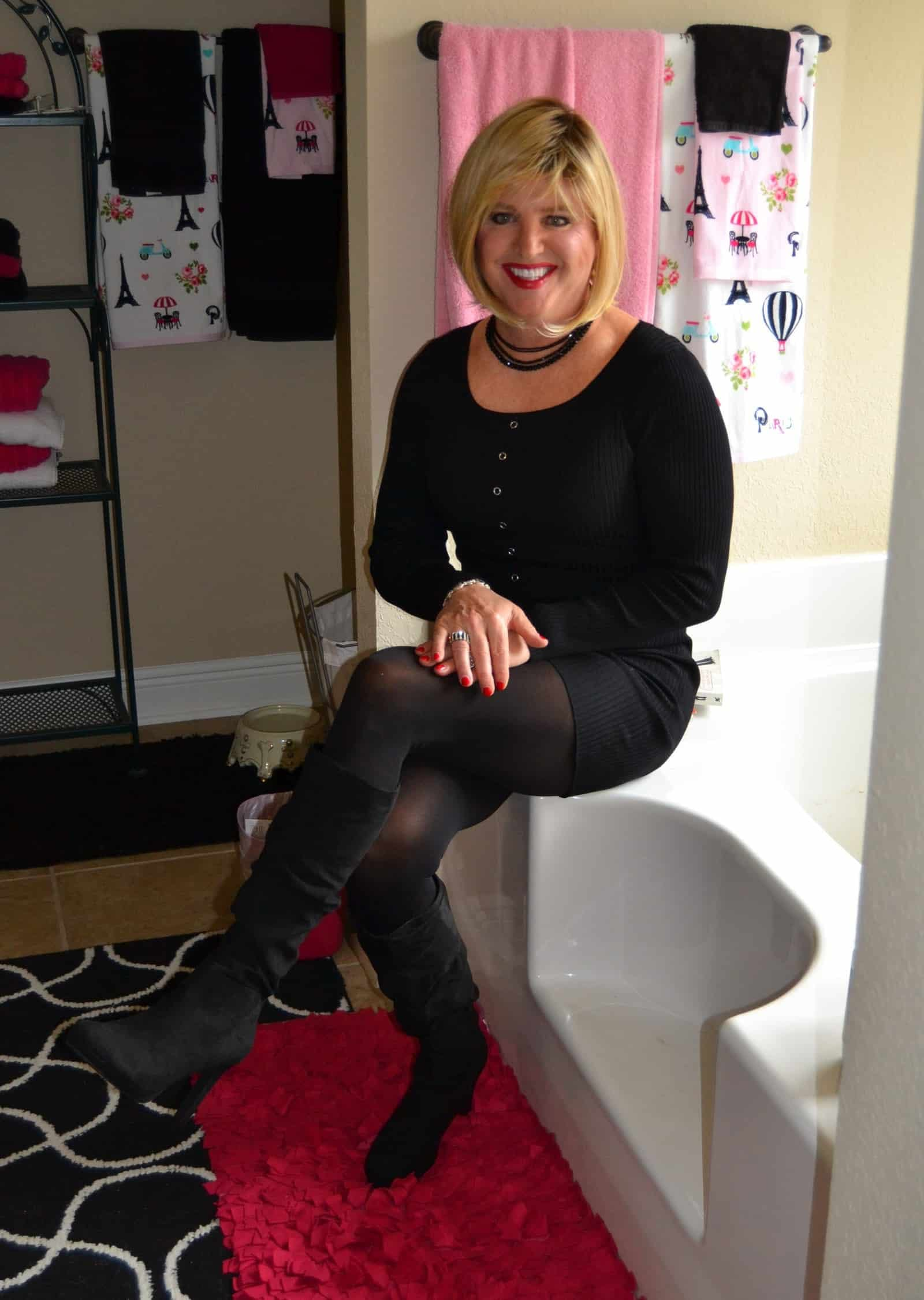 Back Tight Sweater Dress On Tights With Suede Boots In The Tub!