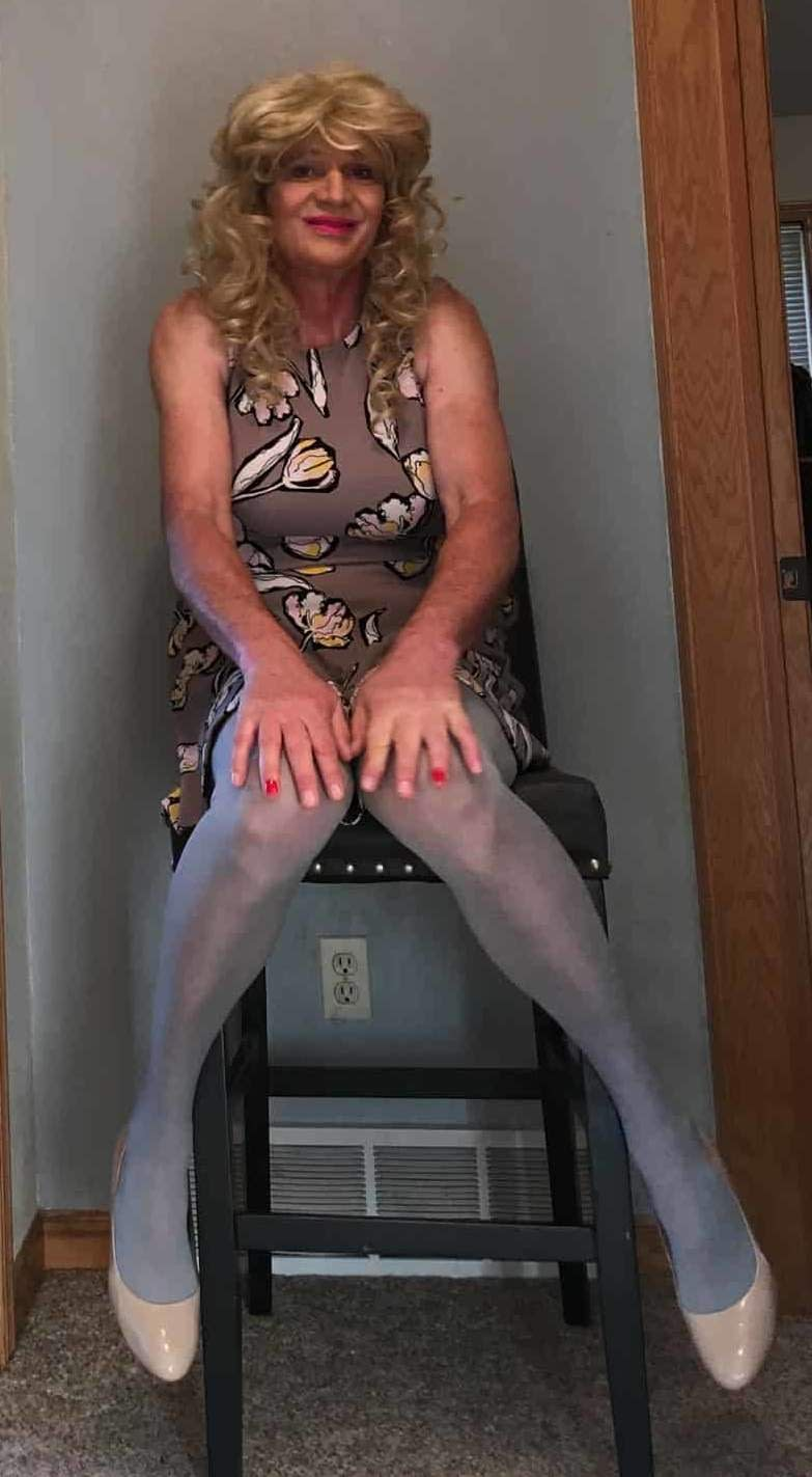 Grey dress with gray tights