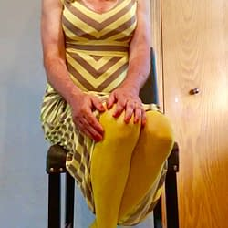 Yellow dress with yellow tights