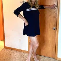Blue dress and heels