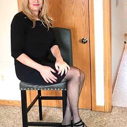 Black skirt and heels