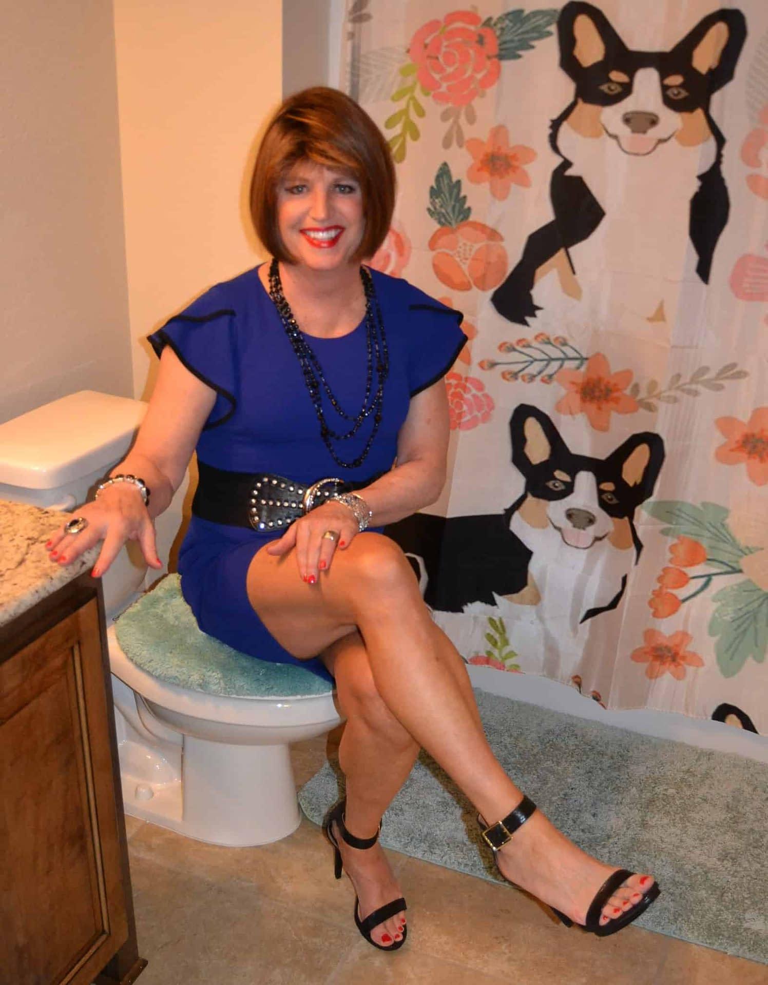 Yep, the Corgi bathroom is where I make my makeup adjustments!