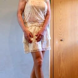 Dress with pantyhose and heels