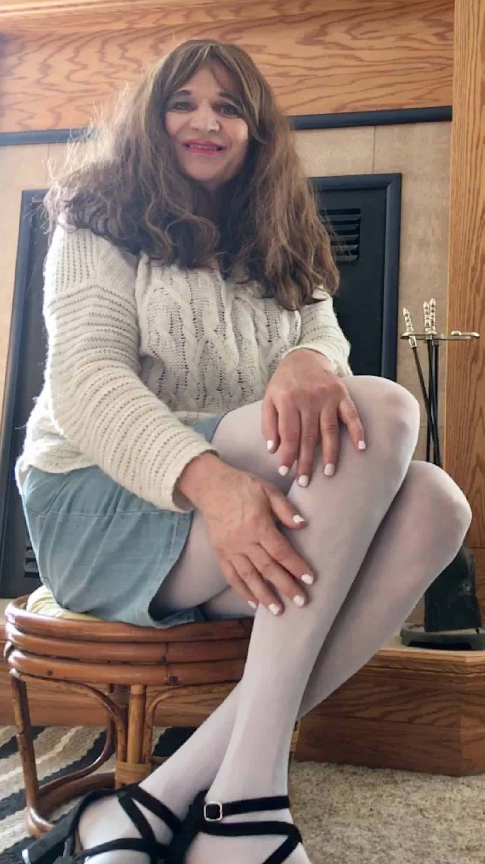 Blue tights and a blue jean skirt