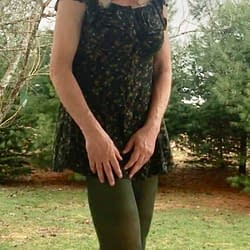 Green dress with green tights