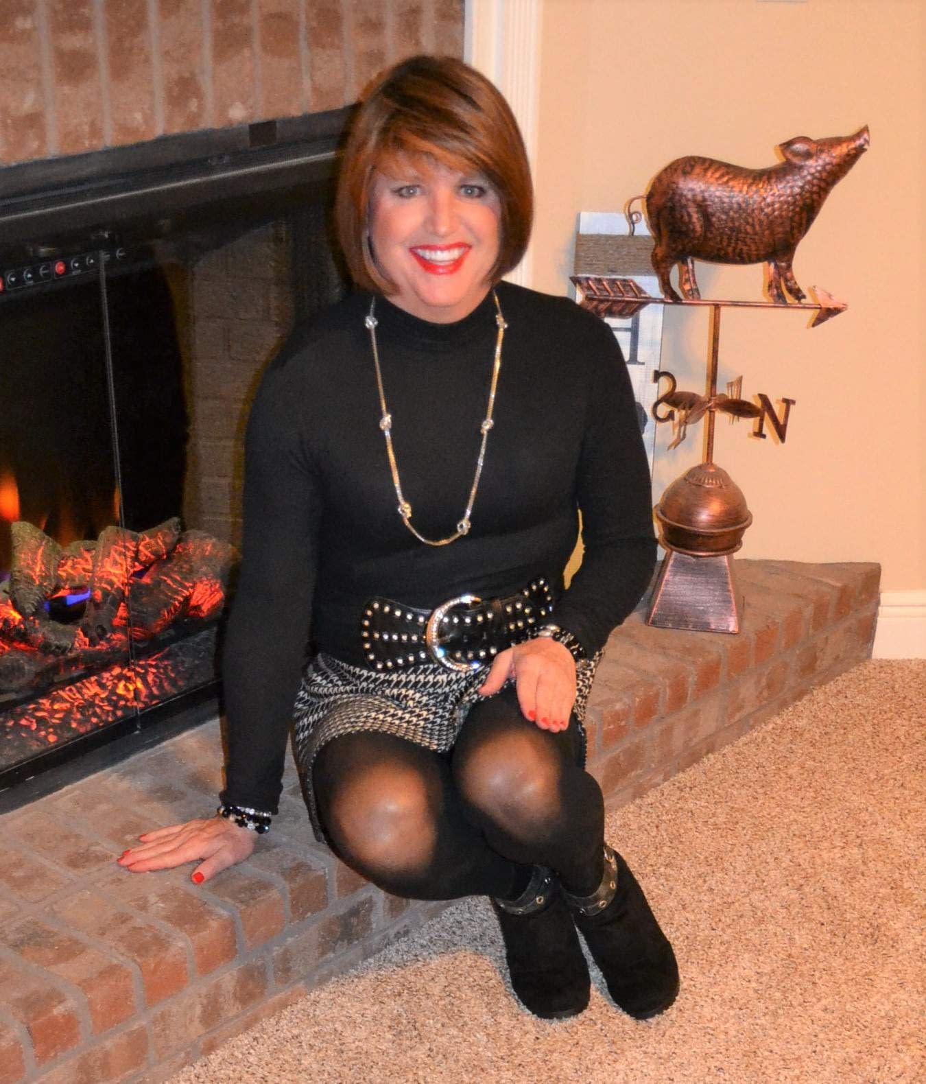 Scarlett Loves Skater Skirts, Black Tights, And Black Ankle Booties!