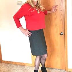 Grey skirt with black pantyhose