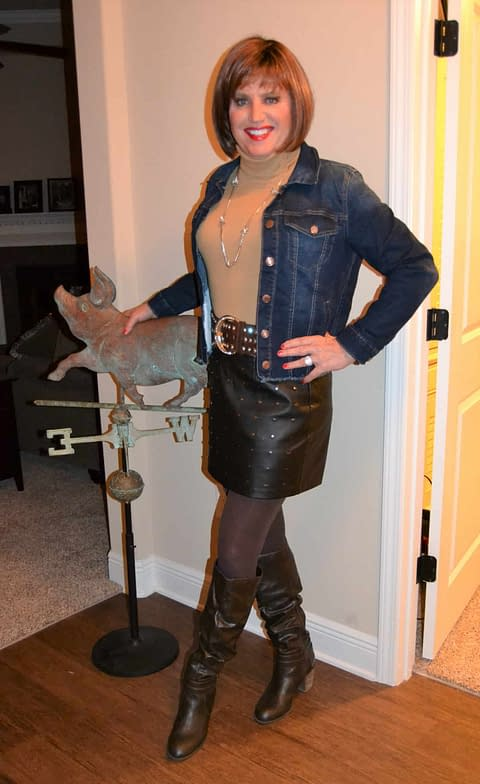 I Put This Sexy Brown Leather Mini Skirt On And….