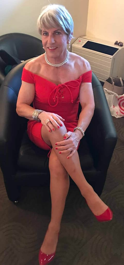 Loving my red cocktail dress