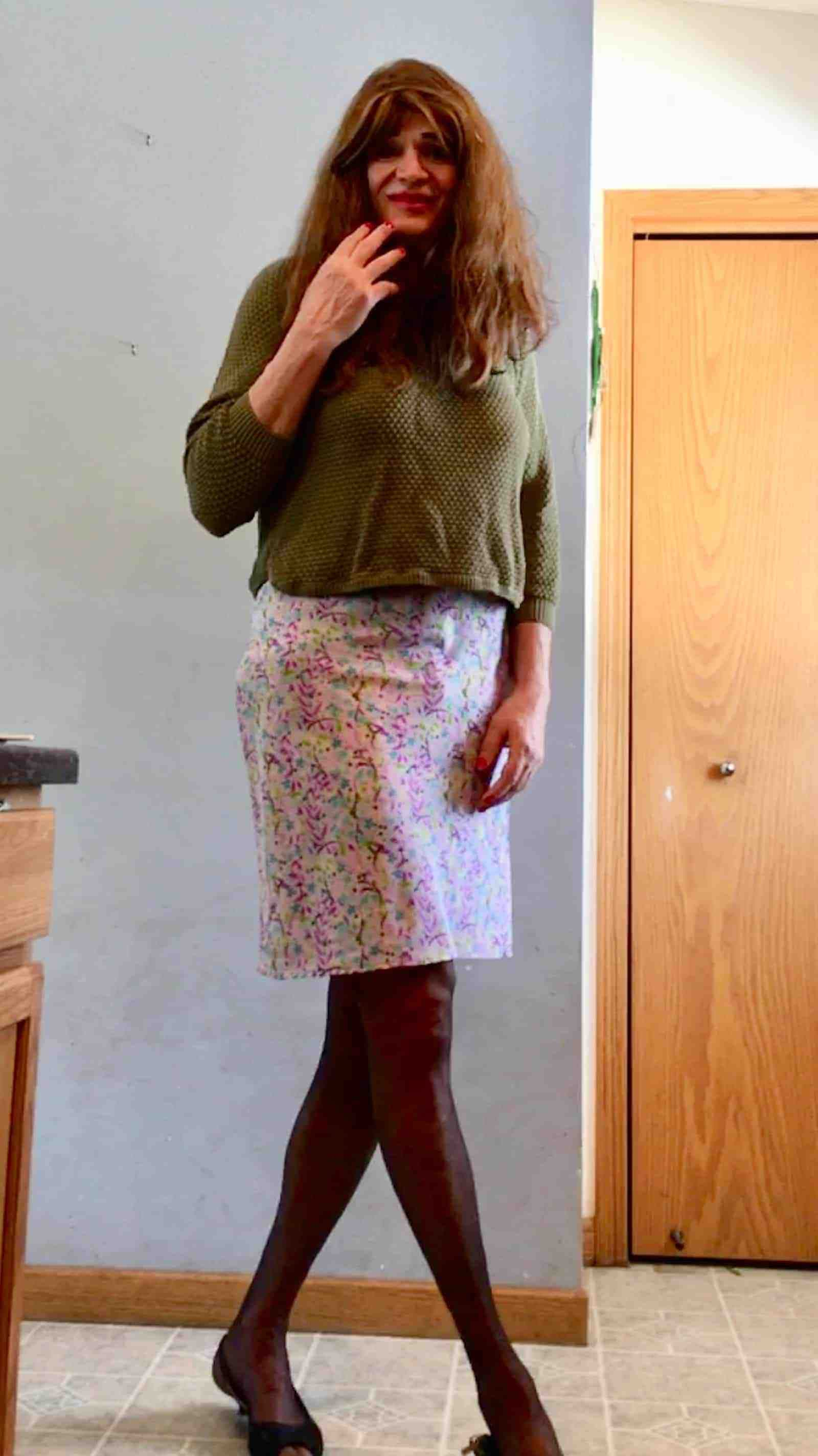 Skirt with black stockings