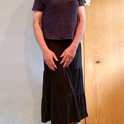 Black skirt with pantyhose