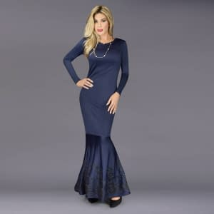 En Femme Evening Shade Mermaid Gown In Navy