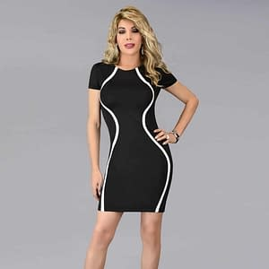 Sleek Body Contour Dress In Black & White