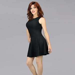Luxurious Sleeveless Swing Dress - Black