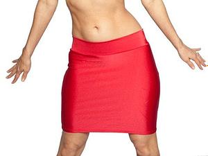 Red Lycra Mini Skirt
