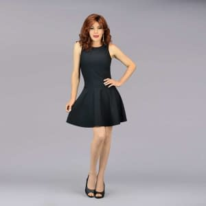Luxurious Sleeveless Swing Dress - Black
