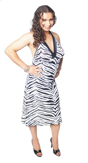 Halter Dress With Breast Form Pockets Zebra