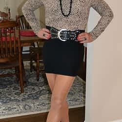 I Will Always Love Spandex Mini Skirts Paired With Thin Snug Fitting Turtle Neck Tops!