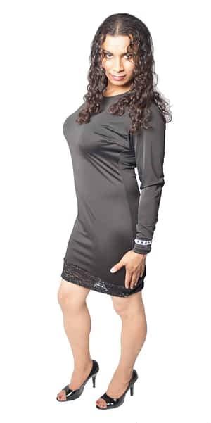 Lace Bottom Black Lycra Dress