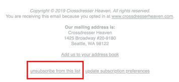 Crossdresser Newsletter Unsubscribe