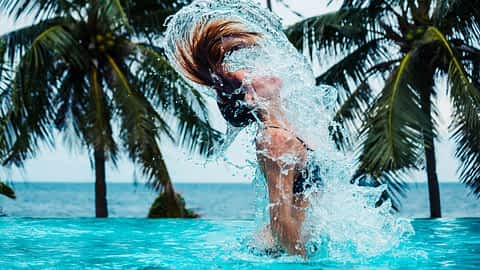 Transgender woman swimming