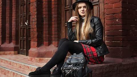Crossdressing schoolgirl at school