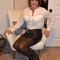 Just Me Again In That Leather Mini Skirt