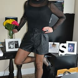 Scarlett's In Leather Shorts!