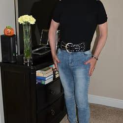My Wife's Black Top With Auburn Hair