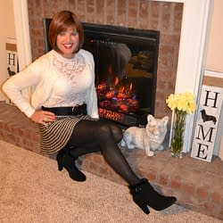 Wow, I Love Cardigans, Stretch Lace, Wool Skater Skirts, Tights, and Suede Ankle Booties!