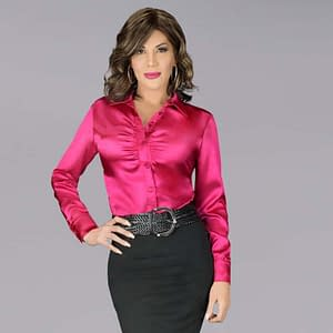 Modern Satin Blouse In Deep Pink