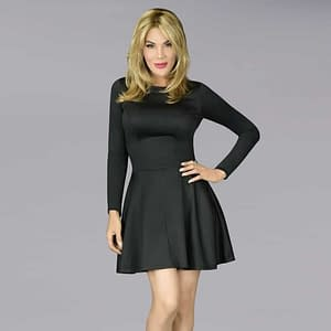 The En Femme Party Swing Dress In Black Doubleknit