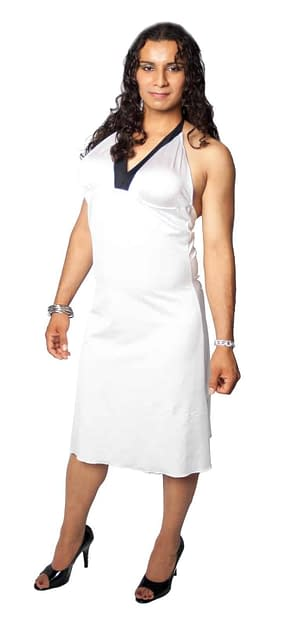 Halter Dress With Breast Form Pockets White