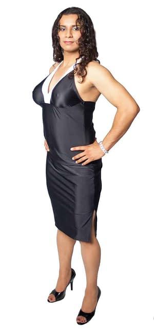 Halter Dress With Breast Form Pockets Black