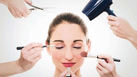 Pretty woman doing makeup