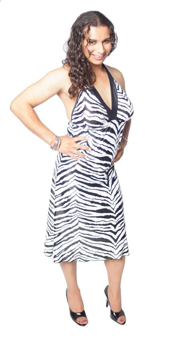Halter Dress With Breast Form Pockets Zebra
