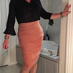 Peach bodycon skirt and favorite top