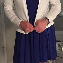 Blue dress with white sweater