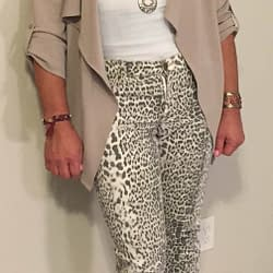 Leopard-print jeans and waterfall jacket