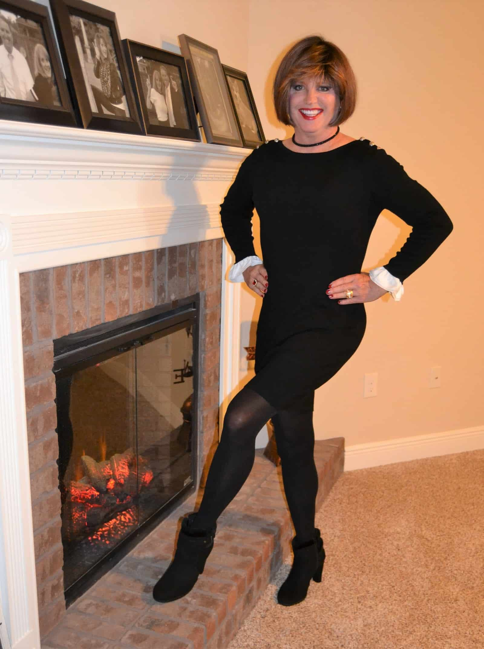 Long sleeved wool dresses with tights are perfect for cold weather!