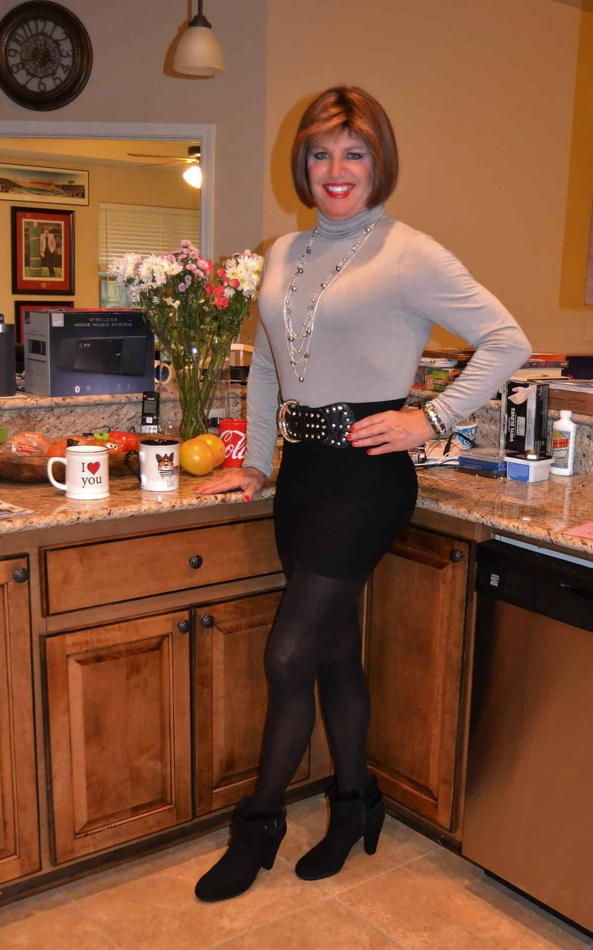 Love Gray Turtle Necks With Black Mini Skirts