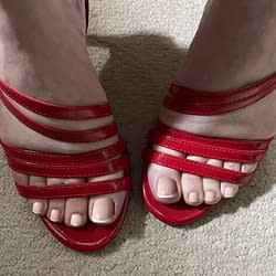 New strappy red heels
