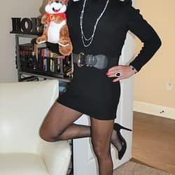 Scarlett Loves Her Beaver And Long Puffy Sleeved Short Wool Dresses!