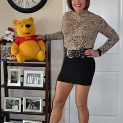 I Love Spandex Mini Skirts Paired With Turtle Neck Tops!