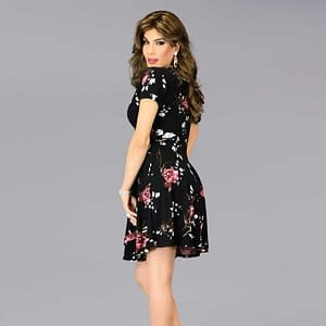 Fabulous En Femme Wrap Dress - Black Floral