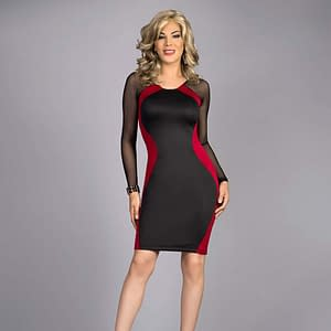 Hourglass Body Contour Dress In Scarlett Red