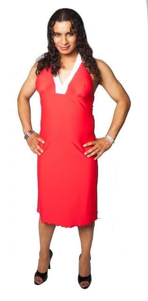 Halter Dress With Breast Forms Pockets Red