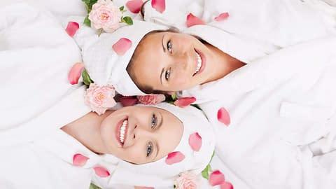 Girlfriends being pampered